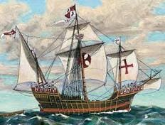 colored Spanish galleon drawing